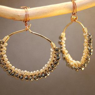 Cleopatra 105 Hammered dropped hoops wrapped with Black Spinel and Ivory Pearls