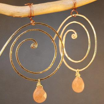 Nouveau 70 Hammered swirly hoops with your choice of stone